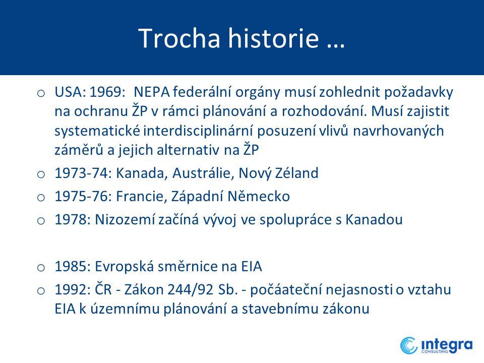 Trocha historie … o USA: 1969: NEPA federální orgány musí zohlednit požadavky na ochranu ŽP v rámci plánování a rozhodování. Musí zajistit systematick