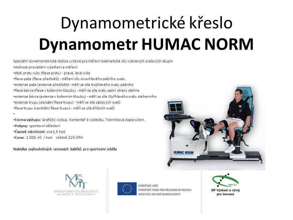 Dynamometrické křeslo Dynamometr HUMAC NORM Speciální dynamometrická stolice určená pro měření izokinetické síly vybraných svalových skupin Možnost provádění vyšetření a měření: stisk prstu ruky (flexe prstu) - pravá, levá ruka flexe paže (flexe předloktí) - měření síly dvouhlavého pažního svalu extenze paže (extenze předloktí) - měří se síla trojhlavého svalu pažního flexe bérce (flexe v kolenním kloubu) - měří se síla svalu zadní strany stehna extenze bérce (extenze v kolenním kloubu) - měří se síla čtyřhlavého svalu stehenního extenze trupu (dorzální flexe trupu) - měří se síla zádových svalů flexe trupu (ventrální flexe trupu) - měří se síla břišních svalů Forma výstupu: Grafický výstup.