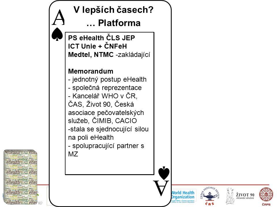 A A PS eHealth ČLS JEP ICT Unie + ČNFeH Medtel, NTMC -zakládající Memorandum - jednotný postup eHealth - společná reprezentace - Kancelář WHO v ČR, ČA