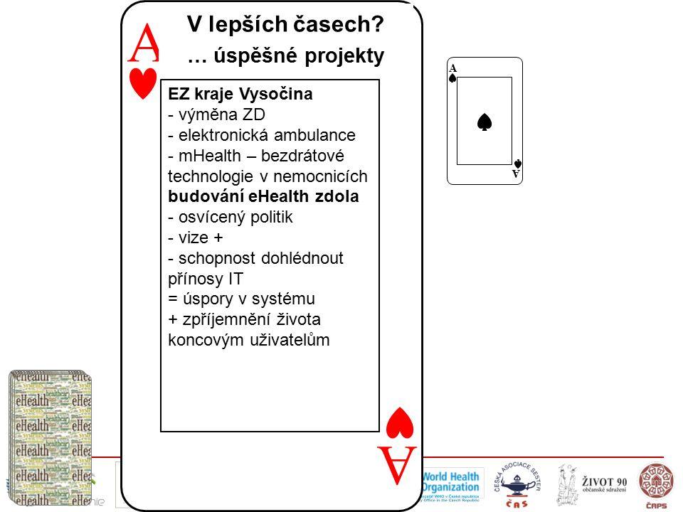 A A EZ kraje Vysočina - výměna ZD - elektronická ambulance - mHealth – bezdrátové technologie v nemocnicích budování eHealth zdola - osvícený politik - vize + - schopnost dohlédnout přínosy IT = úspory v systému + zpříjemnění života koncovým uživatelům V lepších časech.