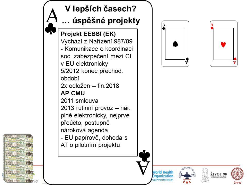 A A Projekt EESSI (EK) Vychází z Nařízení 987/09 - Komunikace o koordinaci soc. zabezpečení mezi CI v EU elektronicky 5/2012 konec přechod. období 2x