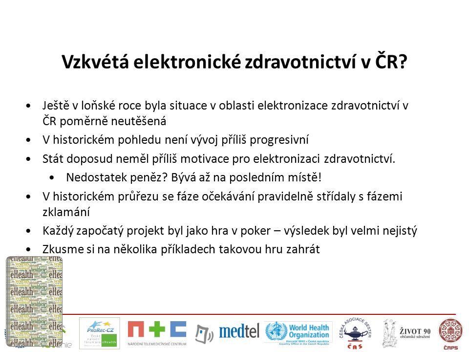 Vzkvétá elektronické zdravotnictví v ČR? Ještě v loňské roce byla situace v oblasti elektronizace zdravotnictví v ČR poměrně neutěšená V historickém p