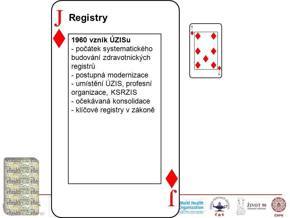 J J Registry 7 7 1960 vznik ÚZISu - počátek systematického budování zdravotnických registrů - postupná modernizace - umístění ÚZIS, profesní organizace, KSRZIS - očekávaná konsolidace - klíčové registry v zákoně