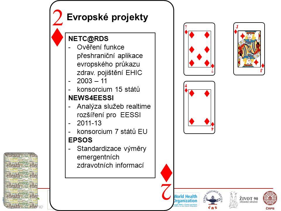 2 2 Evropské projekty 7 7 J J NETC@RDS -Ověření funkce přeshraniční aplikace evropského průkazu zdrav. pojištění EHIC -2003 – 11 -konsorcium 15 států