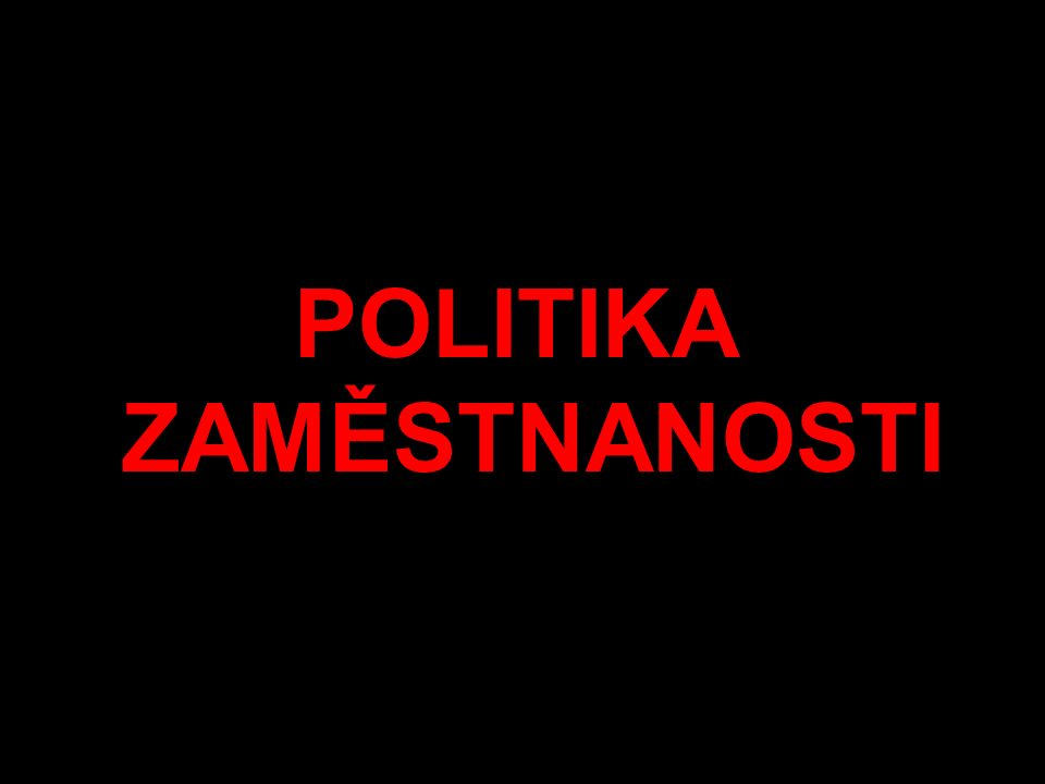 POLITIKA ZAMĚSTNANOSTI