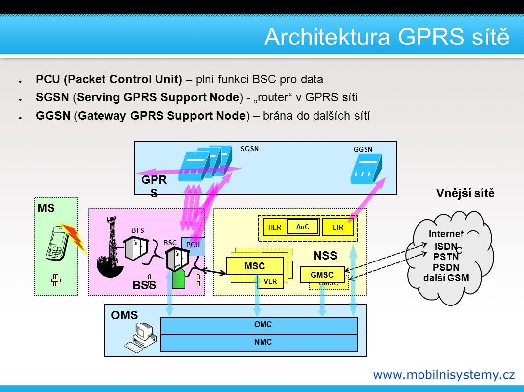 EDGE ● Enhanced Data Rates for GSM Evolution – vylepšení datových rychlostí pro GSM ● Princip zvýšení rychlosti: – redukce kanálového kódování podle kvality signálu – použití modulace s vyšší spektrální účinností » 8-PSK ● Dvě části: – ECSD ( Enhanced Circuit Switched Data ) – zvýšení bitové rychlosti pro komutované spoje – většina operátorů neimplementuje – EGPRS ( Enhanced GPRS ) – zvýšení bitové rychlosti pro paketové spoje (GPRS) ● downlink až 200 kbit/s ● uplink až 100 kbit/s