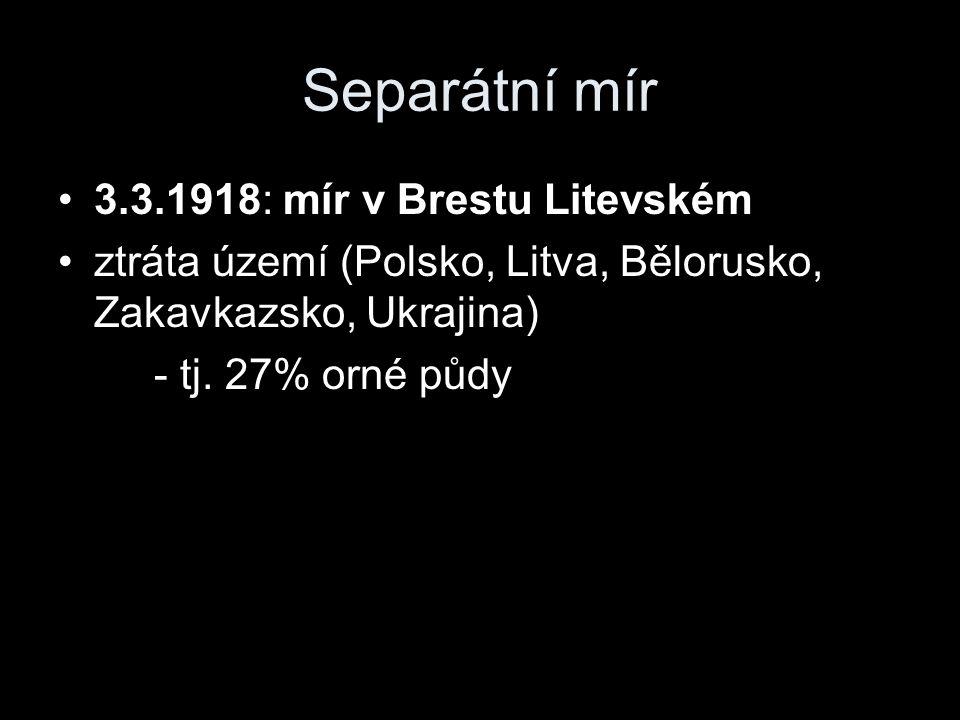 Separátní mír 3.3.1918: mír v Brestu Litevském ztráta území (Polsko, Litva, Bělorusko, Zakavkazsko, Ukrajina) - tj.