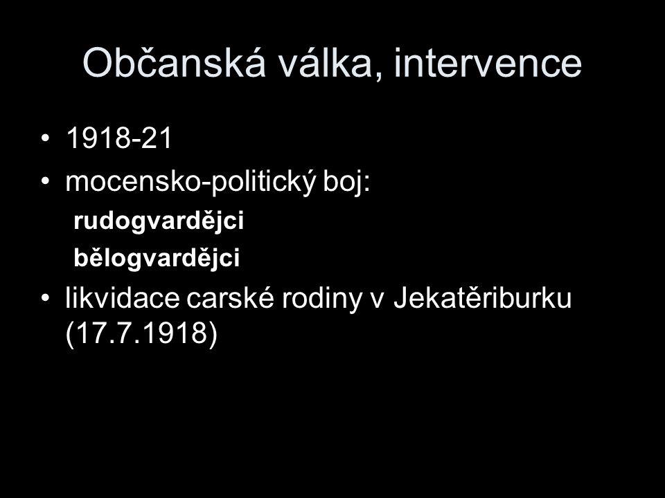 Občanská válka, intervence 1918-21 mocensko-politický boj: rudogvardějci bělogvardějci likvidace carské rodiny v Jekatěriburku (17.7.1918)