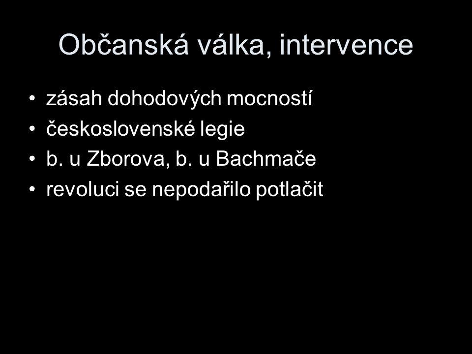 Občanská válka, intervence zásah dohodových mocností československé legie b.