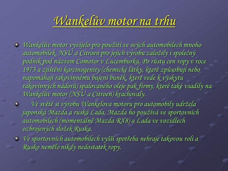 Wankelův motor na trhu Wankelův motor vyvíjelo pro použití ve svých automobilech mnoho automobilek.
