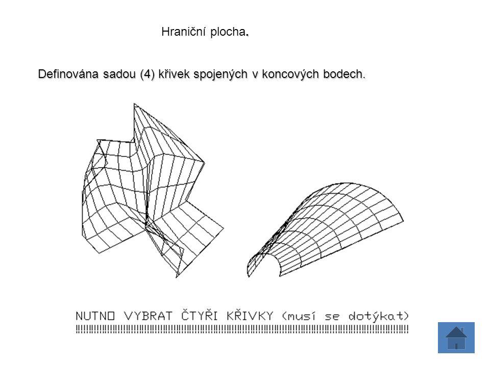 . Hraniční plocha. Definována sadou (4) křivek spojených v koncových bodech.