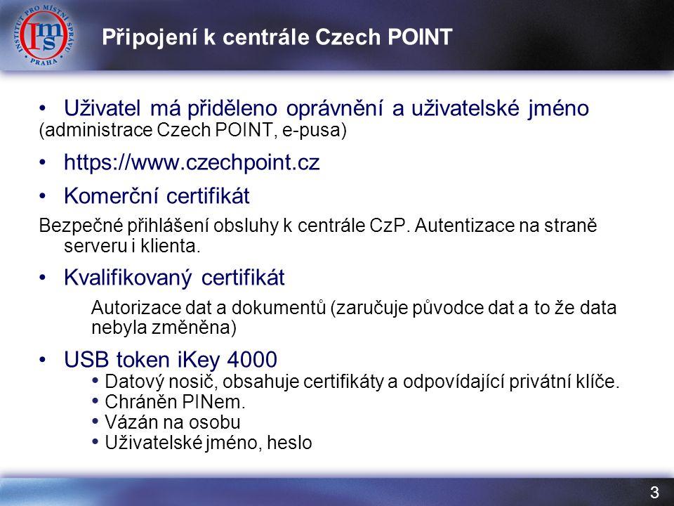 3 Uživatel má přiděleno oprávnění a uživatelské jméno (administrace Czech POINT, e-pusa) https://www.czechpoint.cz Komerční certifikát Bezpečné přihlášení obsluhy k centrále CzP.