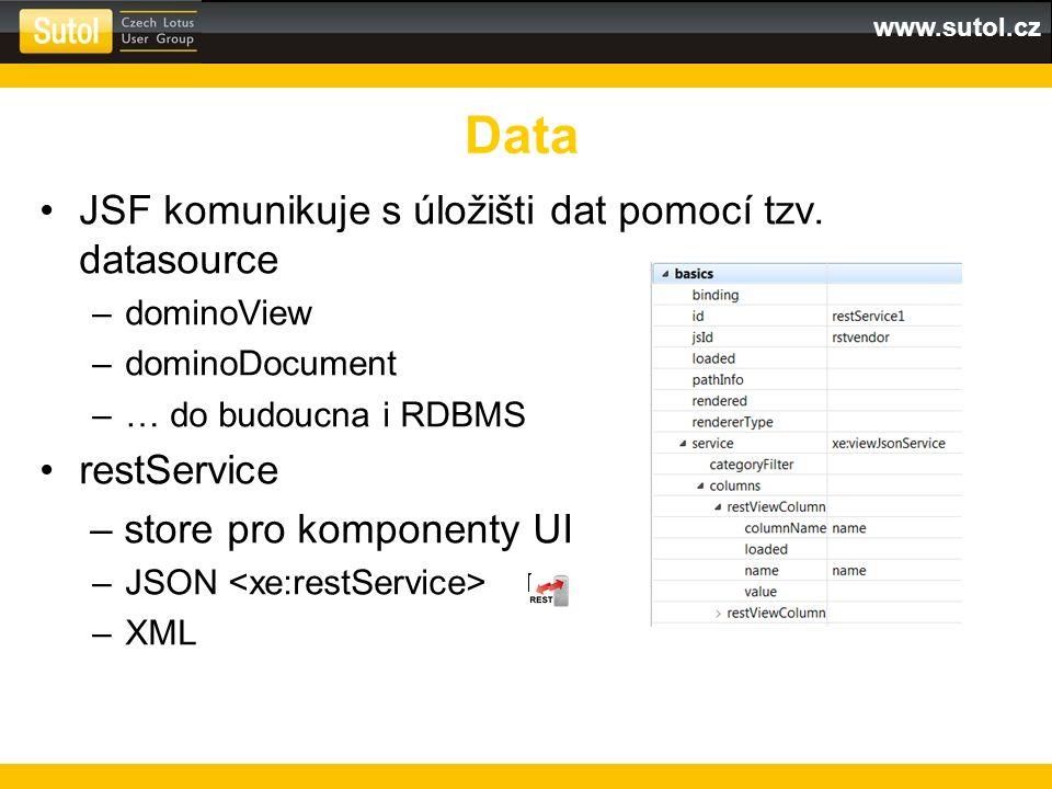 www.sutol.cz JSF komunikuje s úložišti dat pomocí tzv.