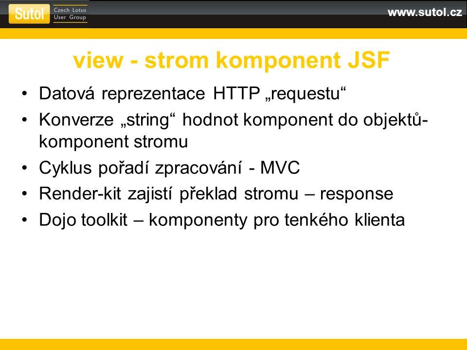 """www.sutol.cz Datová reprezentace HTTP """"requestu Konverze """"string hodnot komponent do objektů- komponent stromu Cyklus pořadí zpracování - MVC Render-kit zajistí překlad stromu – response Dojo toolkit – komponenty pro tenkého klienta view - strom komponent JSF"""