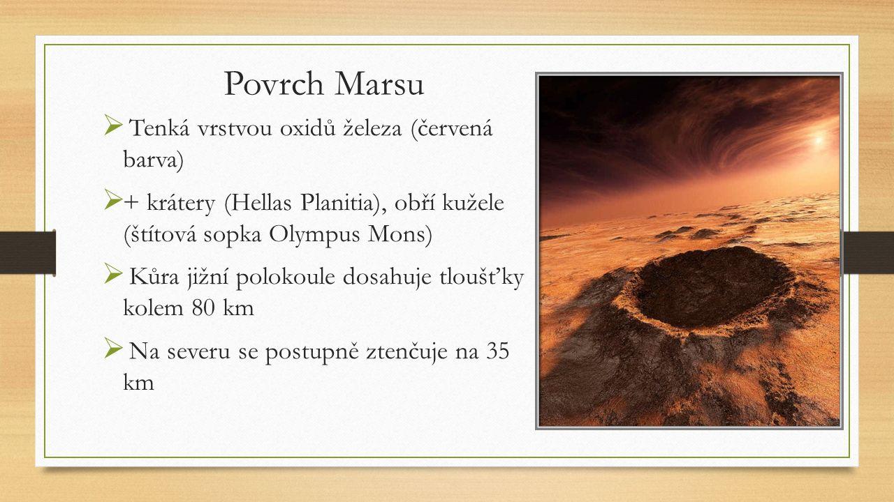Povrch Marsu  Tenká vrstvou oxidů železa (červená barva)  + krátery (Hellas Planitia), obří kužele (štítová sopka Olympus Mons)  Kůra jižní polokou