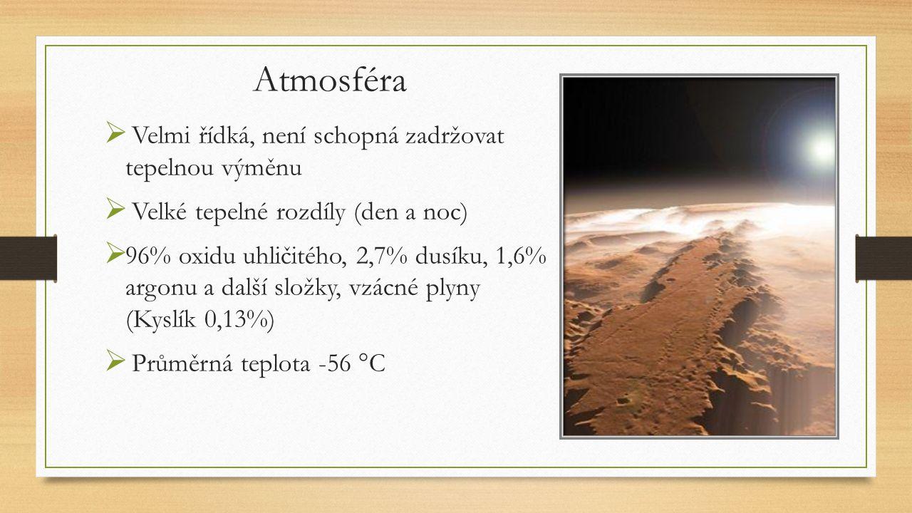 Atmosféra  Velmi řídká, není schopná zadržovat tepelnou výměnu  Velké tepelné rozdíly (den a noc)  96% oxidu uhličitého, 2,7% dusíku, 1,6% argonu a