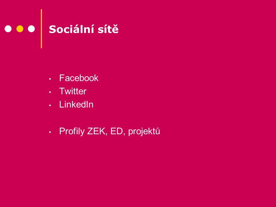 Sociální sítě Facebook Twitter LinkedIn Profily ZEK, ED, projektů