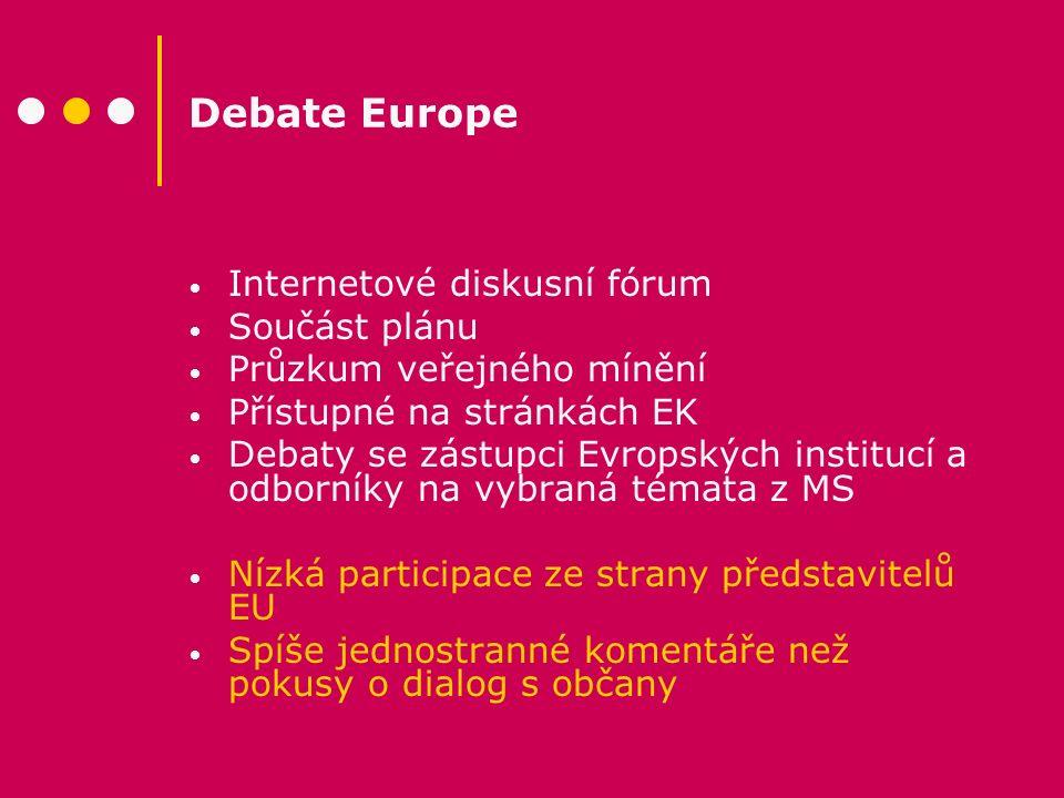 Debate Europe Internetové diskusní fórum Součást plánu Průzkum veřejného mínění Přístupné na stránkách EK Debaty se zástupci Evropských institucí a od