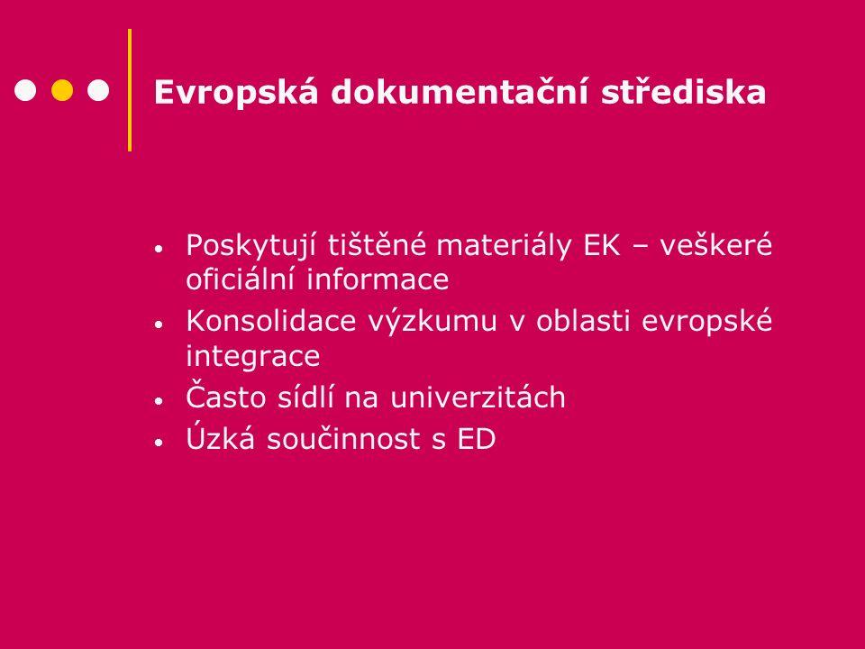Evropská dokumentační střediska Poskytují tištěné materiály EK – veškeré oficiální informace Konsolidace výzkumu v oblasti evropské integrace Často sí