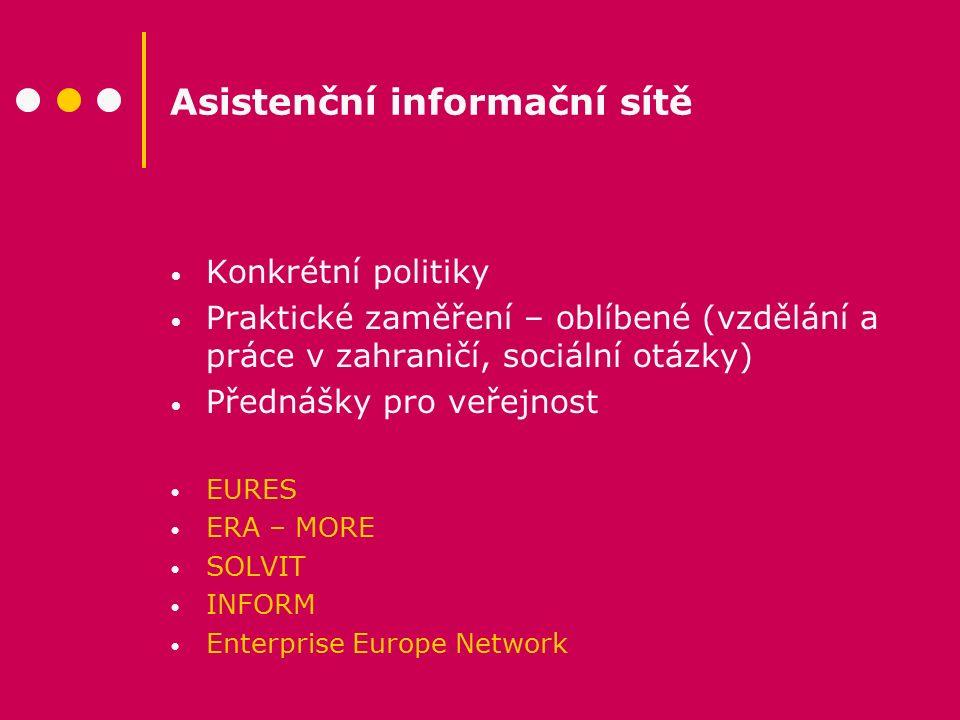 Asistenční informační sítě Konkrétní politiky Praktické zaměření – oblíbené (vzdělání a práce v zahraničí, sociální otázky) Přednášky pro veřejnost EU