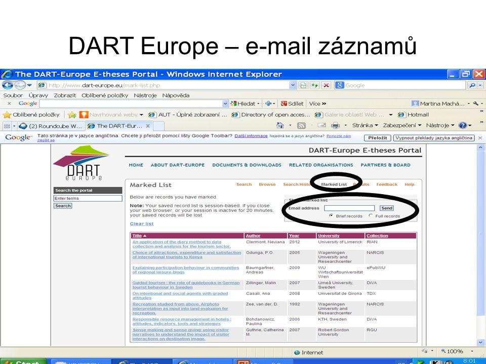 DART Europe – e-mail záznamů