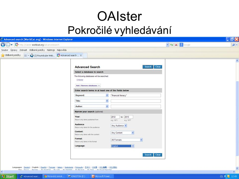 OAIster Pokročilé vyhledávání