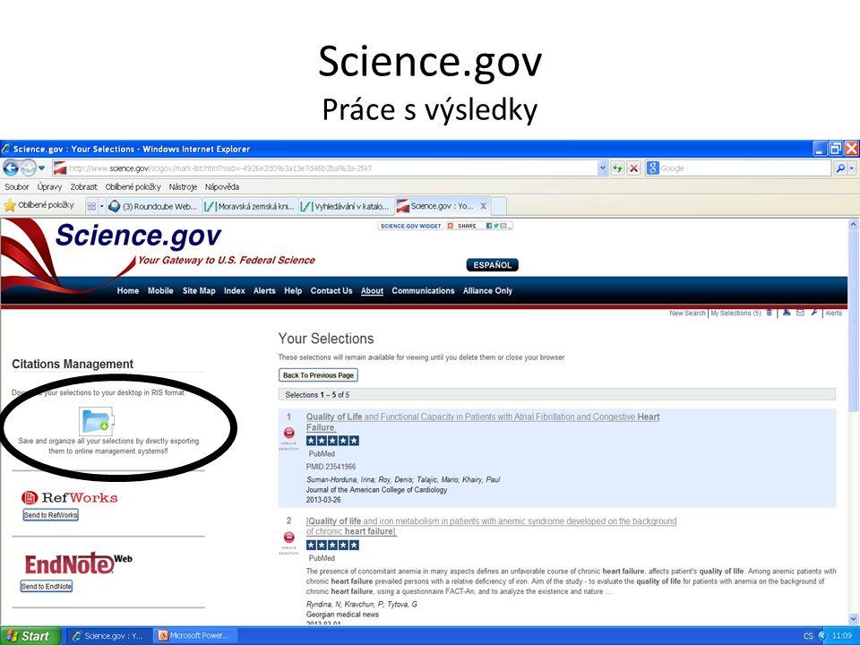 Science.gov Práce s výsledky