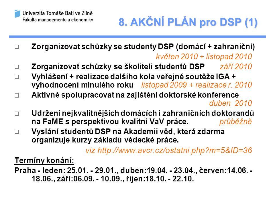 8. AKČNÍ PLÁN pro DSP (1)  Zorganizovat schůzky se studenty DSP (domácí + zahraniční) květen 2010 + listopad 2010  Zorganizovat schůzky se školiteli
