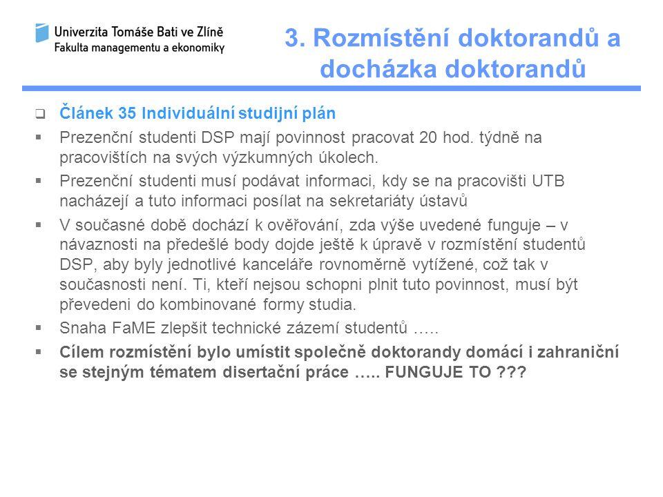 3. Rozmístění doktorandů a docházka doktorandů  Článek 35 Individuální studijní plán  Prezenční studenti DSP mají povinnost pracovat 20 hod. týdně n