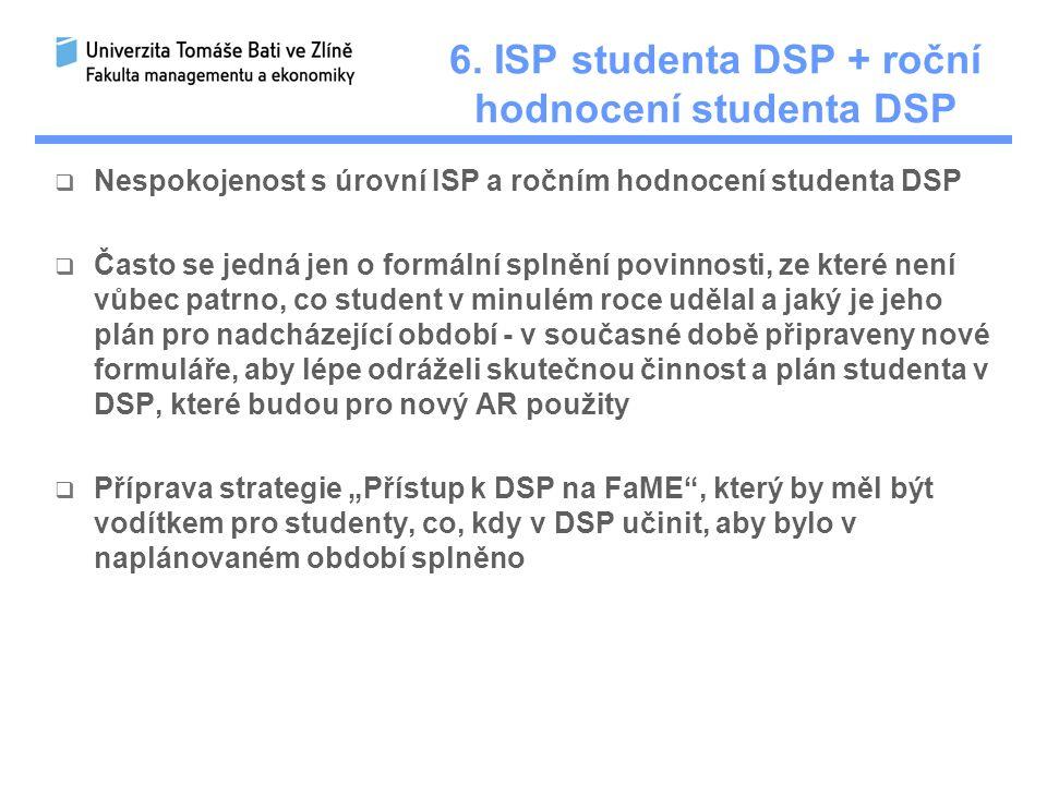 6. ISP studenta DSP + roční hodnocení studenta DSP  Nespokojenost s úrovní ISP a ročním hodnocení studenta DSP  Často se jedná jen o formální splněn