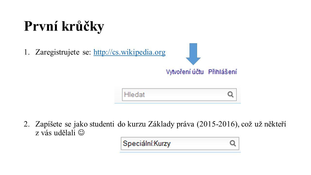 První krůčky 1.Zaregistrujete se: http://cs.wikipedia.orghttp://cs.wikipedia.org 2.Zapíšete se jako studenti do kurzu Základy práva (2015-2016), což u
