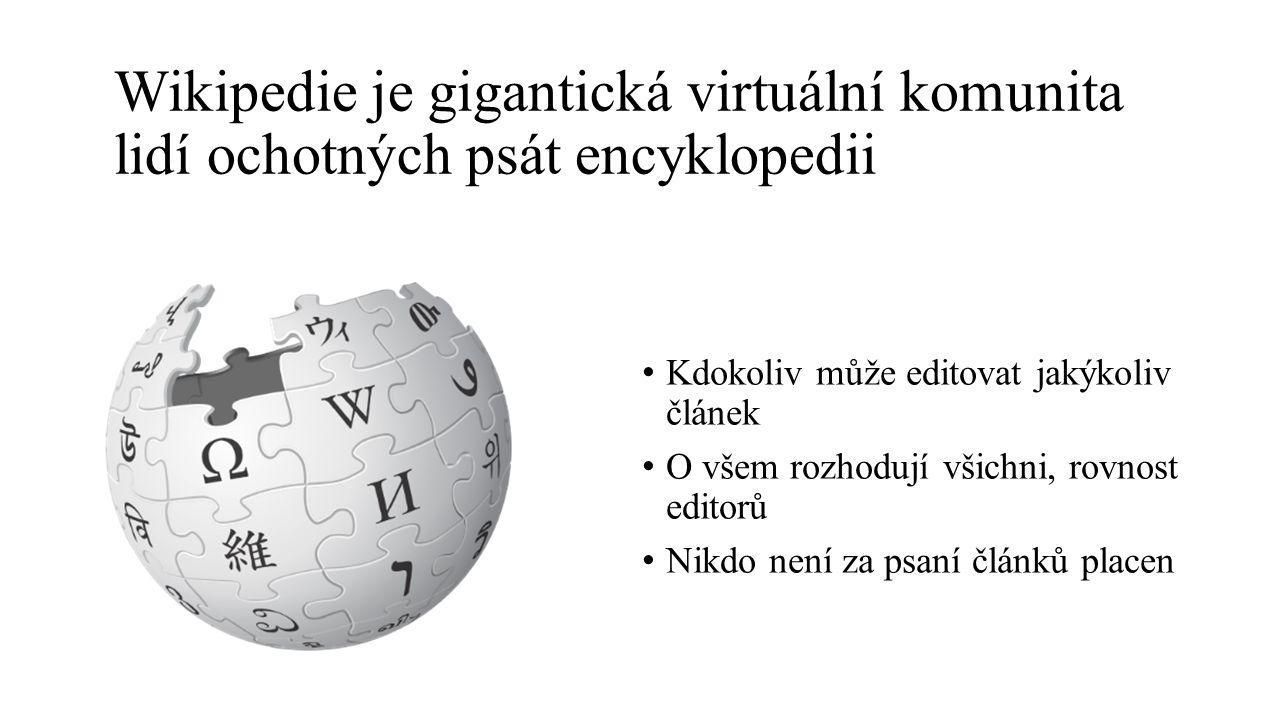 Kdokoliv může editovat jakýkoliv článek O všem rozhodují všichni, rovnost editorů Nikdo není za psaní článků placen Wikipedie je gigantická virtuální