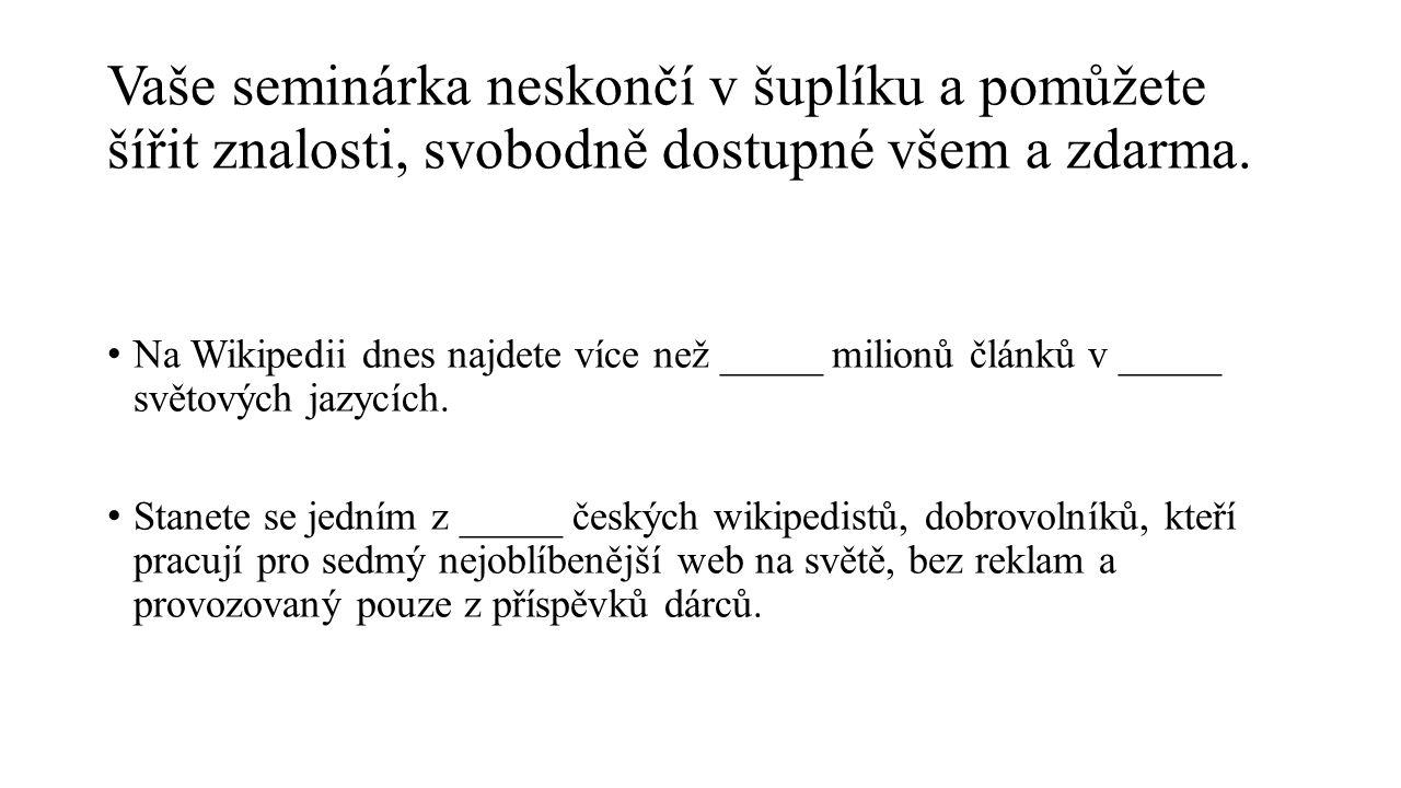 Na Wikipedii E-mailem vojtech.dostal@wikimedia.cz Na Facebooku https://www.facebook.com/studenti.pisi.wikipedii Kde vám pomůžeme?