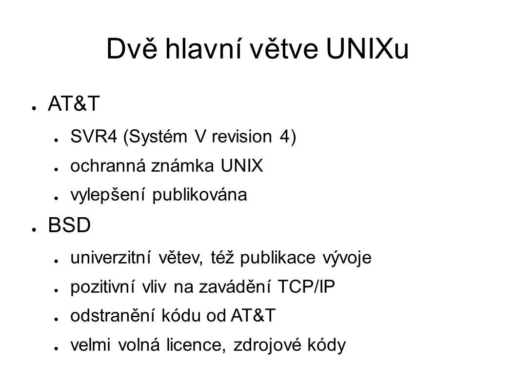 Dvě hlavní větve UNIXu ● AT&T ● SVR4 (Systém V revision 4) ● ochranná známka UNIX ● vylepšení publikována ● BSD ● univerzitní větev, též publikace vývoje ● pozitivní vliv na zavádění TCP/IP ● odstranění kódu od AT&T ● velmi volná licence, zdrojové kódy