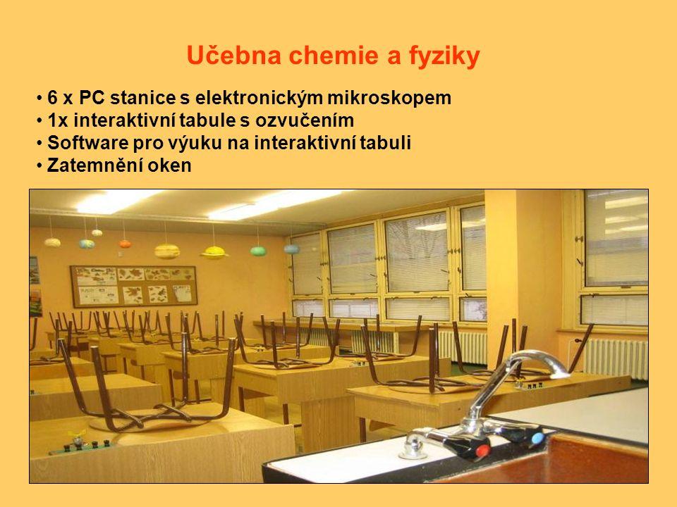6 x PC stanice s elektronickým mikroskopem 1x interaktivní tabule s ozvučením Software pro výuku na interaktivní tabuli Zatemnění oken Učebna chemie a fyziky