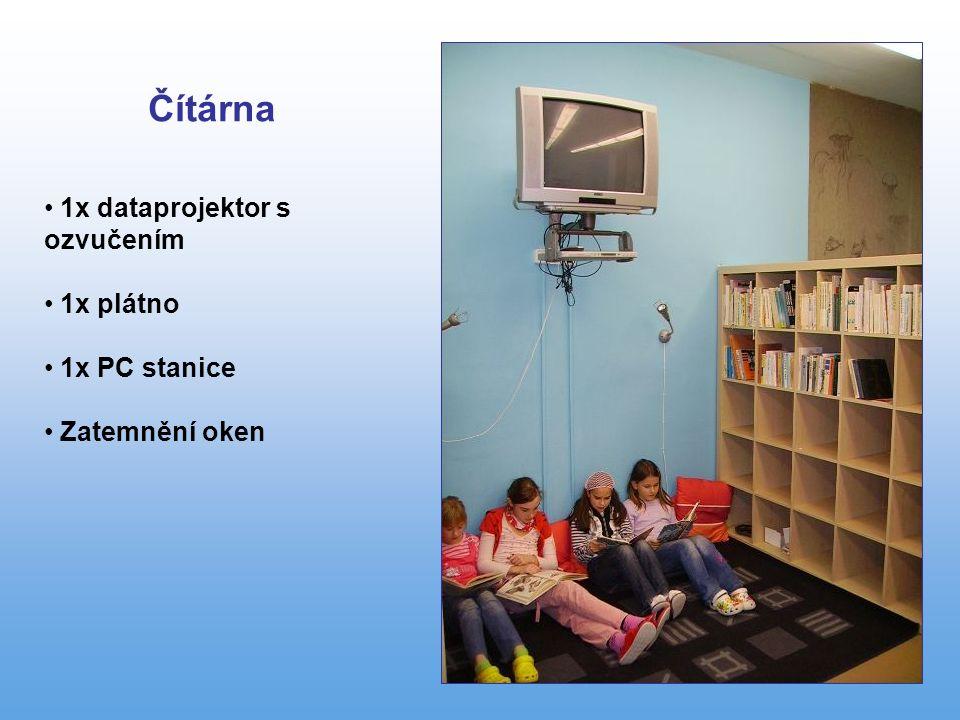1x dataprojektor s ozvučením 1x plátno 1x PC stanice Zatemnění oken Čítárna