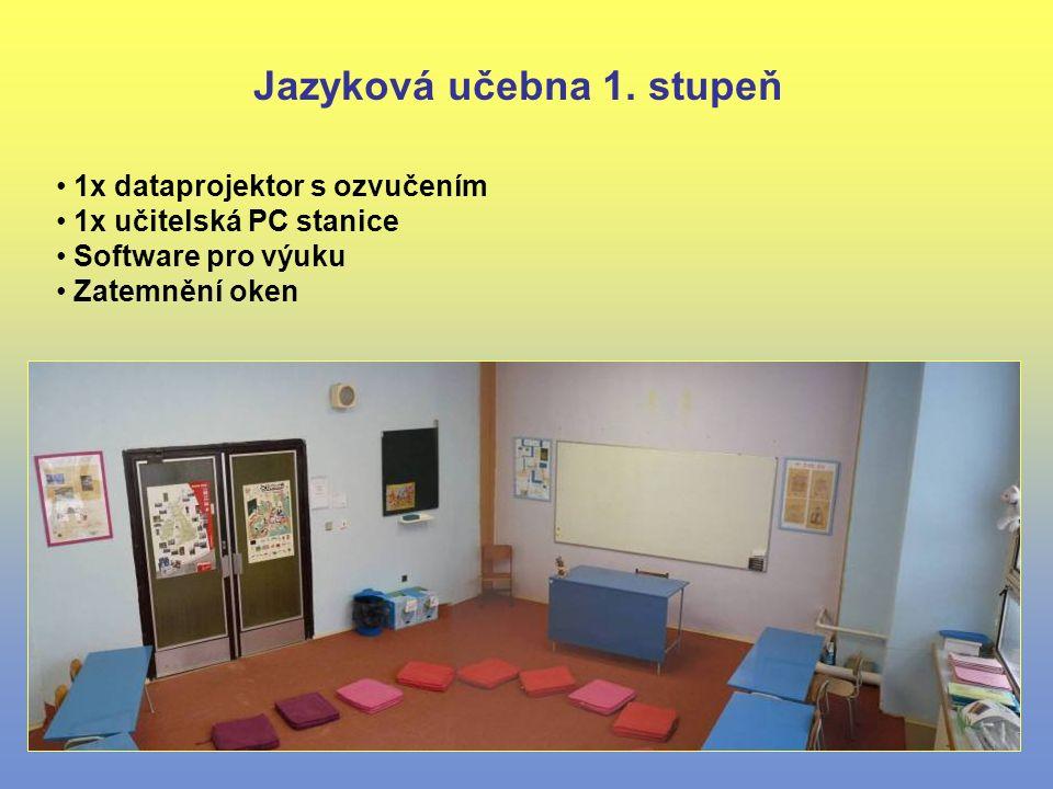 1x dataprojektor s ozvučením 1x učitelská PC stanice Software pro výuku Zatemnění oken Jazyková učebna 1. stupeň