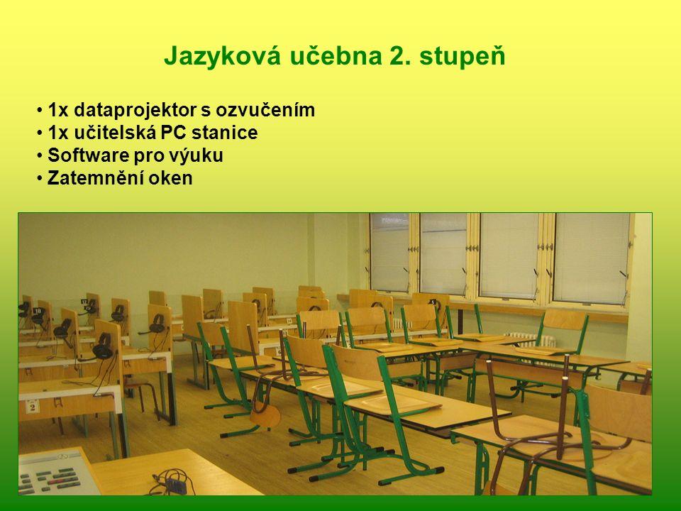 1x dataprojektor s ozvučením 1x učitelská PC stanice Software pro výuku Zatemnění oken Jazyková učebna 2. stupeň