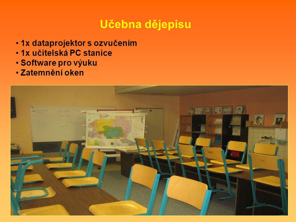 1x dataprojektor s ozvučením 1x učitelská PC stanice Software pro výuku Zatemnění oken Učebna dějepisu