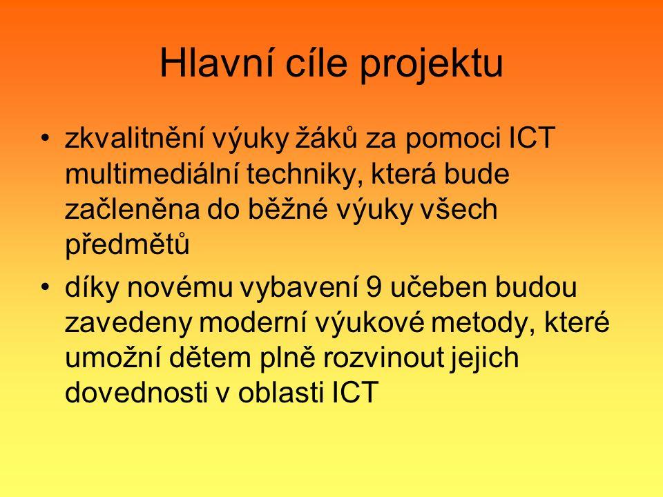 Hlavní cíle projektu zkvalitnění výuky žáků za pomoci ICT multimediální techniky, která bude začleněna do běžné výuky všech předmětů díky novému vybavení 9 učeben budou zavedeny moderní výukové metody, které umožní dětem plně rozvinout jejich dovednosti v oblasti ICT