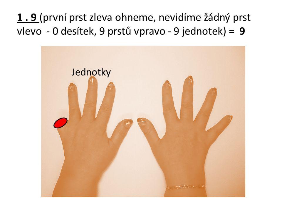 1. 9 (první prst zleva ohneme, nevidíme žádný prst vlevo - 0 desítek, 9 prstů vpravo - 9 jednotek) = 9 Jednotky