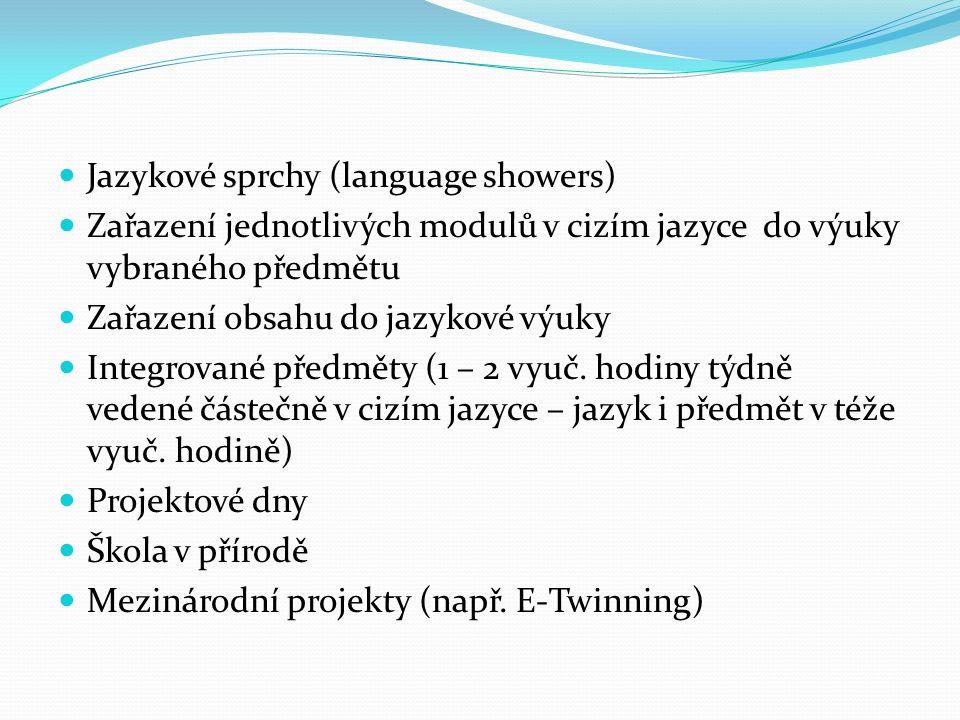 3. Jak praktikovat CLIL – náměty Jazykové sprchy (language showers) Zařazení jednotlivých modulů v cizím jazyce do výuky vybraného předmětu Zařazení o