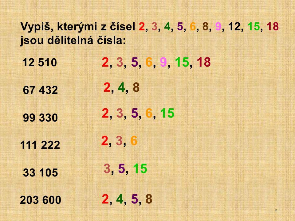 6 Napiš nejmenší /největší trojciferné číslo dělitelné : a/ šesti b/ dvanácti c/ patnácti d/ osmnácti 102 108 105 108 996 990