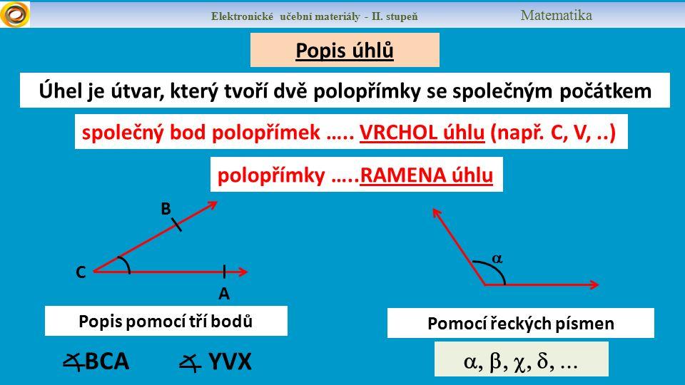 Popis úhlů Elektronické učební materiály - II.