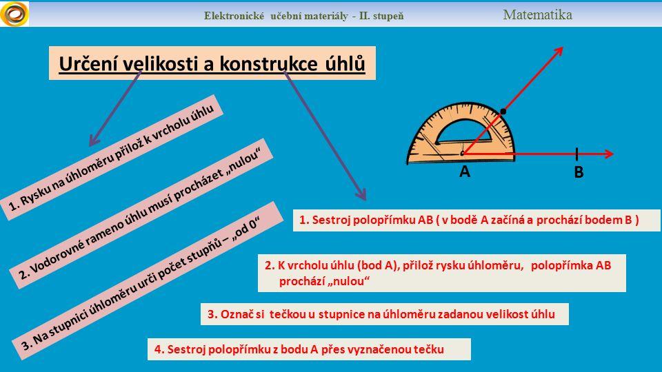 Určení velikosti a konstrukce úhlů Elektronické učební materiály - II.