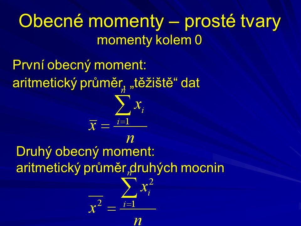 """Obecné momenty – prosté tvary momenty kolem 0 První obecný moment: aritmetický průměr, """"těžiště dat Druhý obecný moment: aritmetický průměr druhých mocnin"""