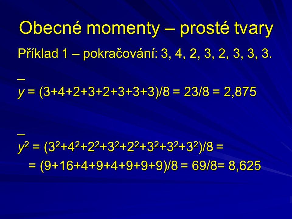 Obecné momenty – prosté tvary Příklad 1 – pokračování: 3, 4, 2, 3, 2, 3, 3, 3. _ y = (3+4+2+3+2+3+3+3)/8 = 23/8 = 2,875 _ y 2 = (3 2 +4 2 +2 2 +3 2 +2