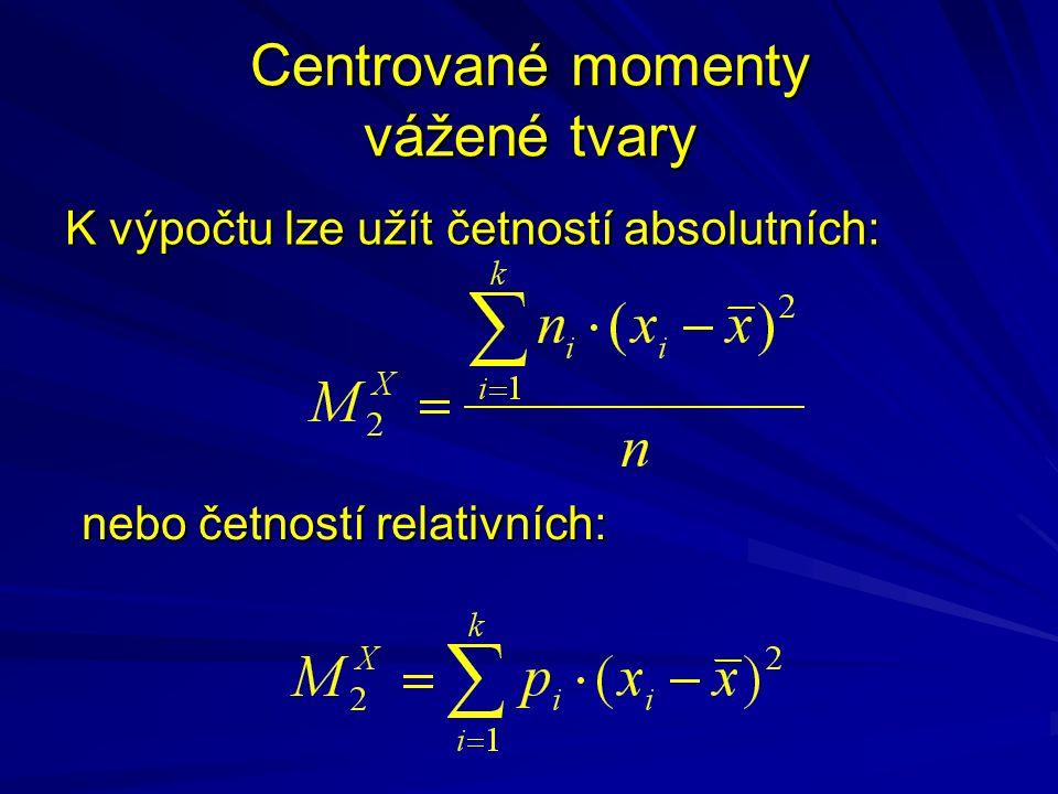 Centrované momenty vážené tvary K výpočtu lze užít četností absolutních: nebo četností relativních: