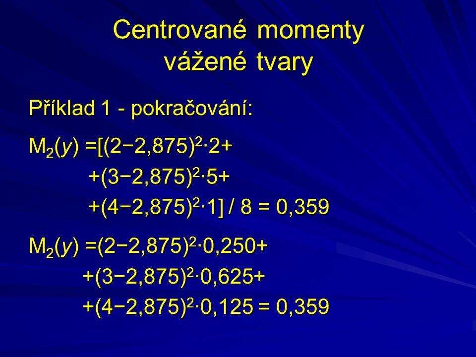 Centrované momenty vážené tvary Příklad 1 - pokračování: M 2 (y) =[(2−2,875) 2 ·2+ +(3−2,875) 2 ·5+ +(3−2,875) 2 ·5+ +(4−2,875) 2 ·1] / 8 = 0,359 +(4−2,875) 2 ·1] / 8 = 0,359 M 2 (y) =(2−2,875) 2 ·0,250+ +(3−2,875) 2 ·0,625+ +(3−2,875) 2 ·0,625+ +(4−2,875) 2 ·0,125 = 0,359 +(4−2,875) 2 ·0,125 = 0,359