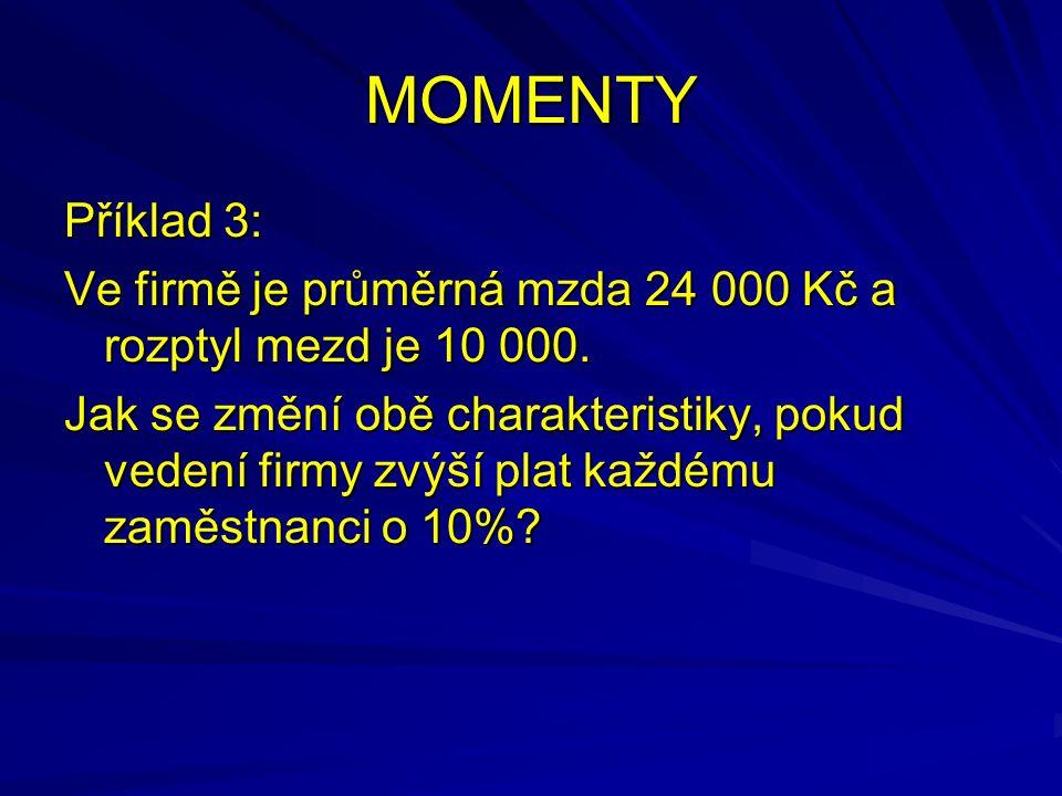 MOMENTY Příklad 3: Ve firmě je průměrná mzda 24 000 Kč a rozptyl mezd je 10 000.